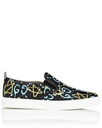Gucci Ghost Print Leather Slip On Sneakers
