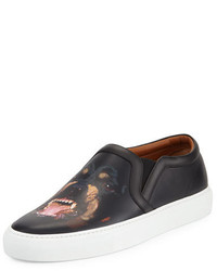 Givenchy Rottweiler Print Leather Skate Shoe Black