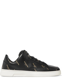 Balenciaga Printed Leather Sneakers Black