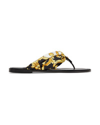Versace Printed Silk Twill And Leather Sandals