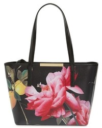 Ted Baker London Small Citrus Bloom Janelle Printed Leather Shopper Black
