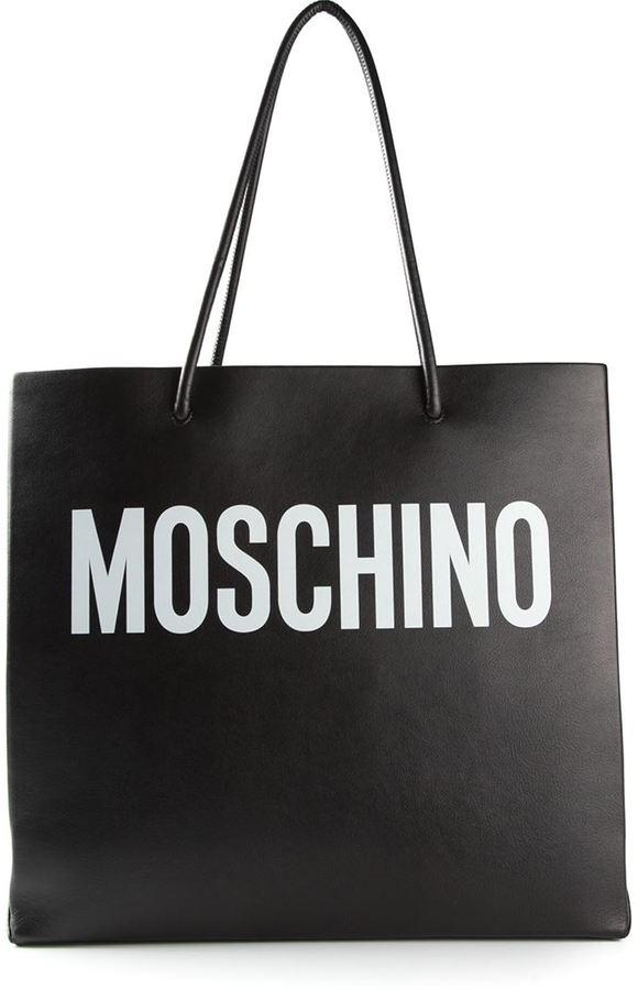 Moschino White logo print tote bag YabAehYdZo