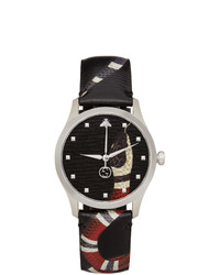 Gucci Black And Silver 38mm G Timeless Snake Watch