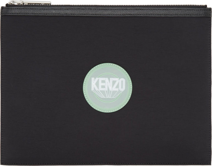 64b93ef438b Kenzo Black Neoprene Leather Logo Zip Pouch, $185 | SSENSE ...