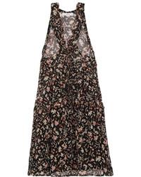IRO Lace Up Printed Georgette Mini Dress Black