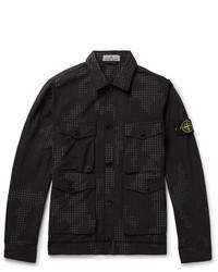 Stone Island Printed Cotton Blend Ripstop Shirt Jacket