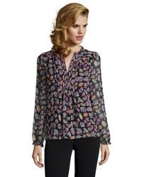 Diane von Furstenberg Black And Purple Vintage Floral Print Silk Annalise Collarless Blouse