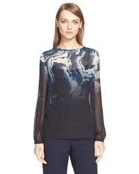 St. John Collection Marble Degrade Print Silk Georgette Blouse With Scarf