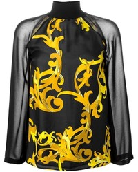 Versace Collection Baroque Print High Neck Blouse