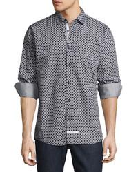 English Laundry Chain Print Sport Shirt Black