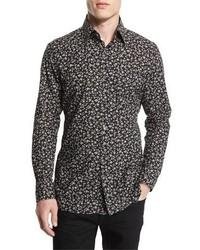 Tom Ford Pansy Printed Slim Sport Shirt Black