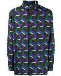 Issey Miyake Men Printed Button Up Shirt