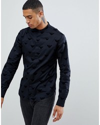 Emporio Armani Slim Fit Grandad Collar Shirt With All Over Flocked Logo In Black