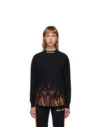 Palm Angels Black Flames Logo Long Sleeve T Shirt