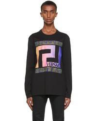Versace Black Neon Greca Long Sleeve T Shirt
