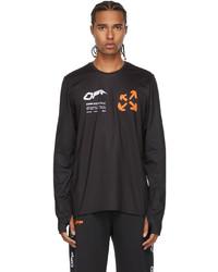Off-White Black Orange Active Logo Thumbhole Long Sleeve T Shirt