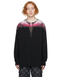 Marcelo Burlon County of Milan Black Pink Wings Long Sleeve T Shirt