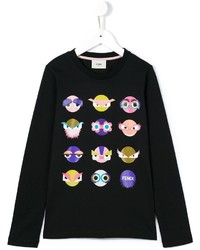 Fendi Kids Monster Print Long Sleeve T Shirt