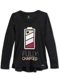Sean John Fully Charged Graphic Print Long Sleeve T Shirt Big Girls