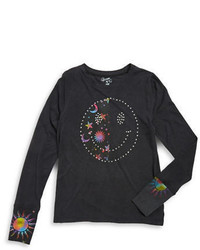 Flowers by Zoe Girls 7 16 Studded Smiley Face Long Sleeve T Shirt