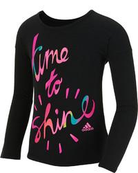adidas Graphic Print Long Sleeve T Shirt Toddler Little Girls