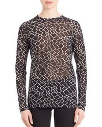 Proenza Schouler Long Sleeve Printed Cotton Jersey Tissue Tee