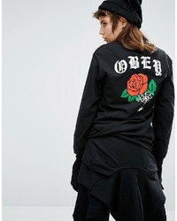 Obey Long Sleeve Tee With Rose Back Print