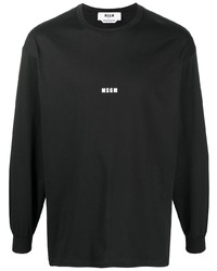 MSGM Micro Logo Print Long Sleeve Top