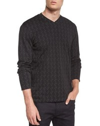 Armani Collezioni Tonal Chevron Print Long Sleeve T Shirt Black
