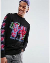 Asos X Mtv Long Sleeve T Shirt With Sleeve And Body Print