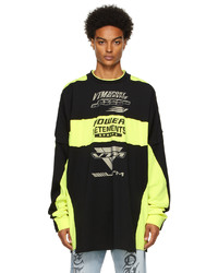 Vetements Yellow Black Motocross Patched Logo Long Sleeve T Shirt