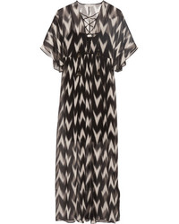 Carroll printed crinkled silk chiffon maxi dress black medium 3731834