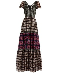 Clarion print silk crepe de chine maxi dress medium 846682