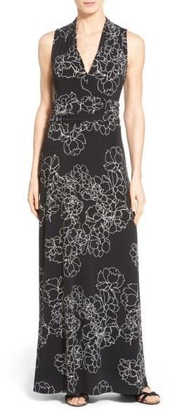 62f0bc7f22 ... Vince Camuto Petite Floral Print Jersey Maxi Dress ...