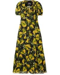 Marc Jacobs Printed Ruffled Crepe Midi Dress