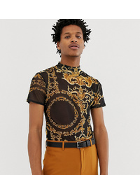 Reclaimed Vintage Inspired Mesh T Shirt With Baroque Print