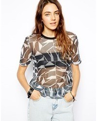 T shirt in open mesh with nyc print medium 79628