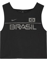 Nike Cropped Printed Mesh Top Black