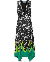 Prada Asymmetric Printed Crepe Midi Dress
