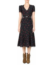 The Kooples Cherry Love Printed Midi Dress