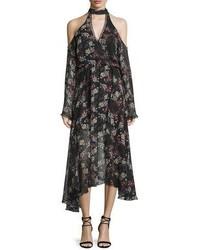 Floral print silk cold shoulder midi dress medium 3645004