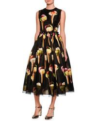 Dolce & Gabbana Gelato Print Sleeveless Midi Dress Blackpattern