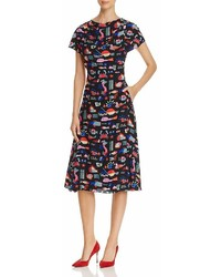 Emporio Armani Geometric Fish Print Midi Dress