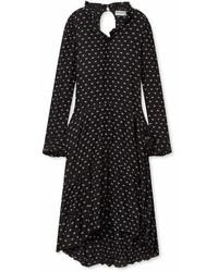 Balenciaga Printed Crinkled Silk Midi Dress Black