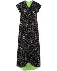 Balenciaga Printed Silk Crepe Midi Dress Black