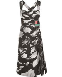 Prada Wrap Effect Printed Satin Twill Dress Black
