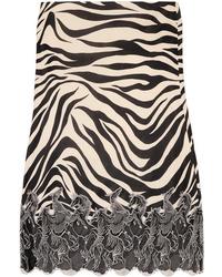 Chloé Med Zebra Print Satin Midi Skirt