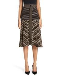 Proenza Schouler Mixed Print Crepe Midi Skirt