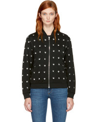 MCQ Alexander Ueen Black And White Micro Swallow Bomber Jacket