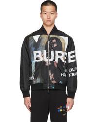 Burberry Black Mermaid Print Bomber Jacket